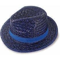 Sombrero de paja ala corta personalizado azul