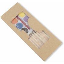 Estuche de cartón con acuarelas y lápices de colores personalizado