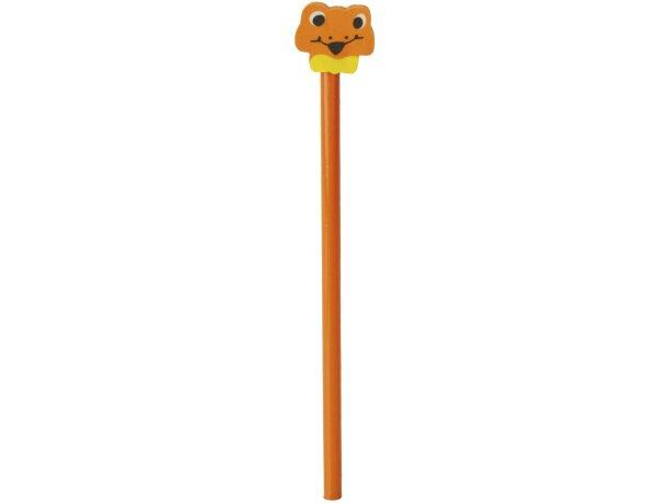 Lápiz de madera naranja con ranita personalizado