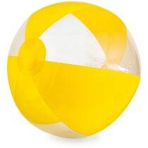 Balón de playa de rayas color y transparente amarillo