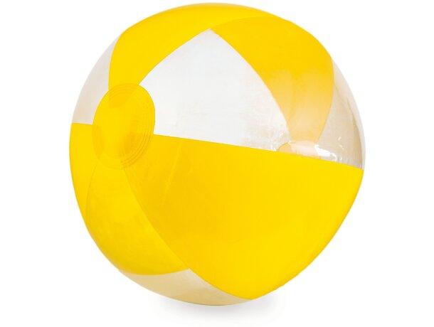 Balón de playa de rayas color y transparente personalizado amarillo