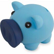 Hucha de plástico cerdito de diseño personalizada azul