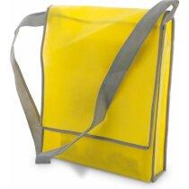 Bolsa bandolera amplia con ribetes en color amarilla grabado