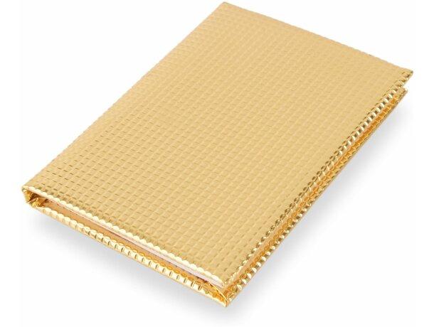 Libreta de 70 hojas con tapas en oro o plata grabado oro