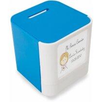Hucha de plástico con porta fotos personalizada azul