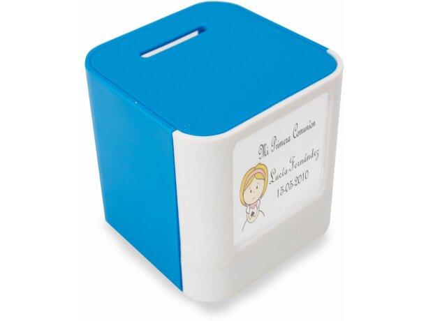 Hucha de plástico con porta fotos azul