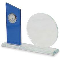 Placa conmemorativa de cristal con reloj personalizada