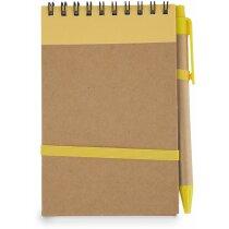 Bloc de notas con bolígrafo freciclado amarilla