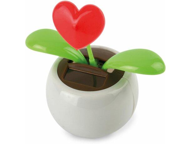 Maceta eco solar con flor corazón personalizada