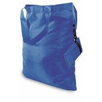 Bolsa plegable con cremallera y funda azul