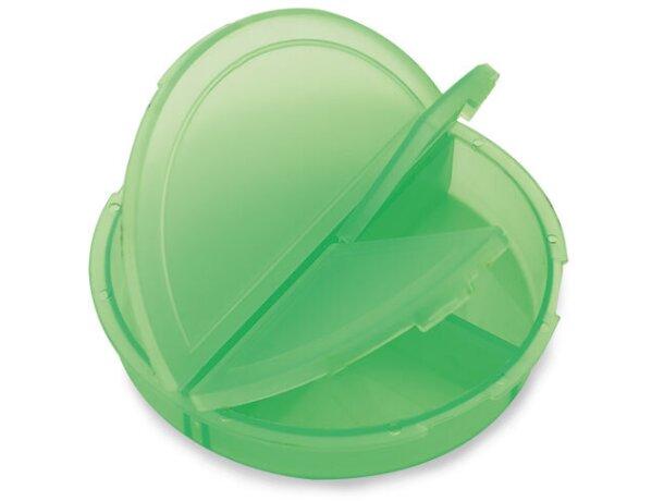 Pastillero redondo con 3 secciones personalizado verde