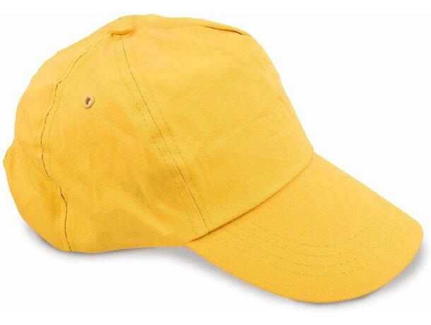 Gorra con ojetes de metal y 5 paneles amarilla