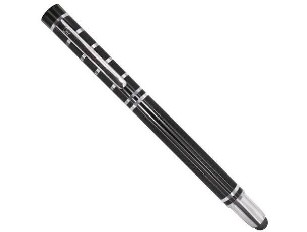 Bolígrafo de metal con lápiz táctil pierre deline negro