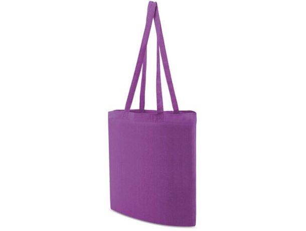 Bolsa de tela promocional para publicidad de empresas con logo lila