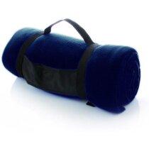 Manta polar de viaje con funda azul personalizado