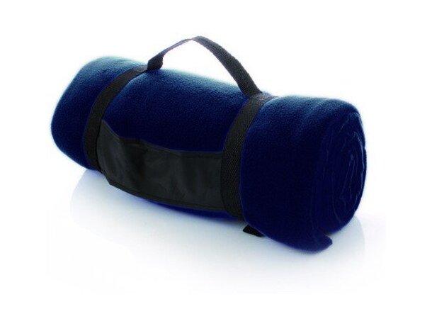 Manta polar de viaje con funda grabada azul