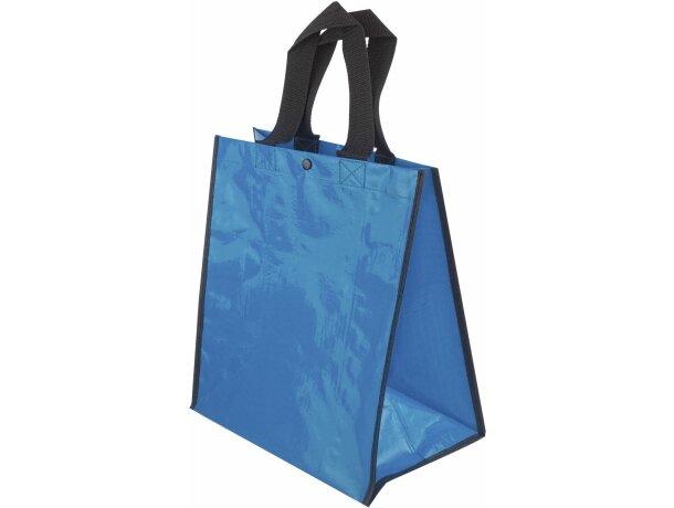 Bolsa de la compra con acabado brillante grabada azul
