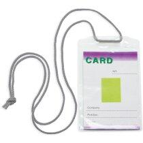 Identificador transparente con cordón