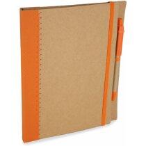 Libreta tamaño A5 con bolígrafo y banda elástica personalizada naranja