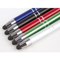 Bolígrafo metálico con puntero y clip personalizado azul