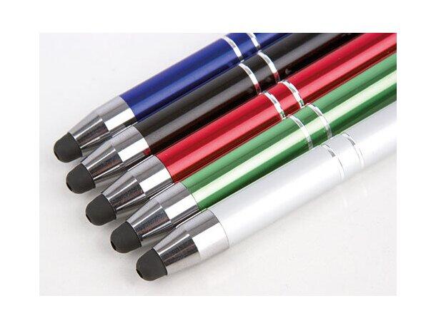 Bolígrafo metálico con puntero y clip azul