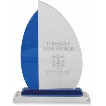 Trofeo vela de cristal azul y blanco personalizado