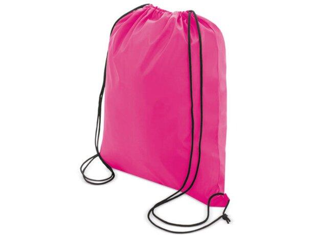 Bolsa mochila con cordones económica fucsia