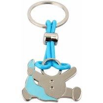 Llavero en forma de bebe con gasa personalizado azul claro