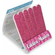 Carterita con limas de uñas con calendario personalizada fucsia