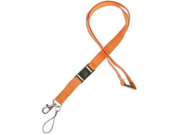 Lanyard doble de poliéster con enganche de hierro naranja