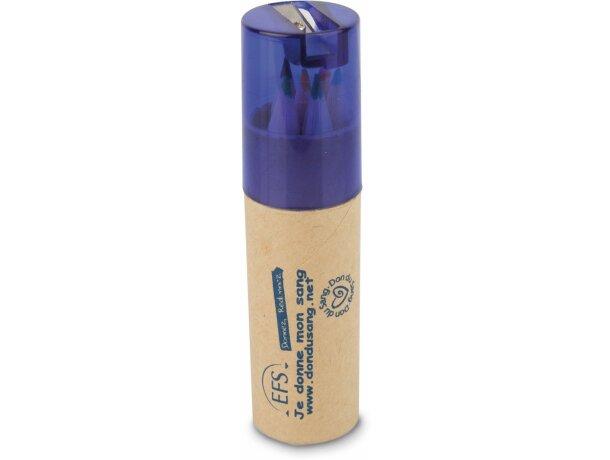 Cajita redonda con lápices y sacapuntas personalizada azul
