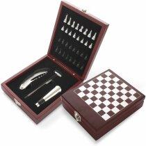 Set de vino de 3 piezas con caja de juego de ajeedrez de madera personalizado