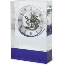 Reloj de sobremesa de cristal personalizado azul