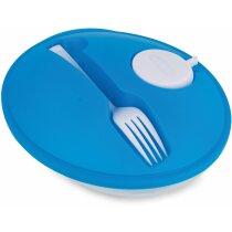 Set ensaladera oval con tenedor azul barato