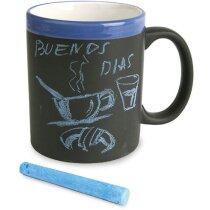Taza decorada con pizarra para escribir mensajes personalizada azul