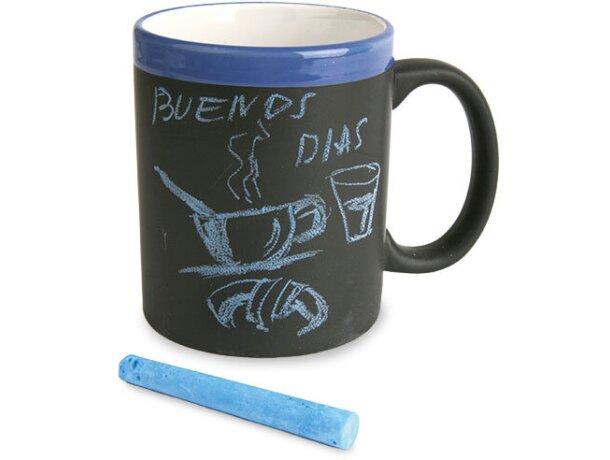 Taza decorada con pizarra para escribir mensajes azul