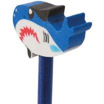 Lápiz de madera con goma tiburón azul personalizado
