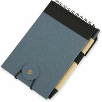 Bloc de notas reciclado con cierre de goma azul
