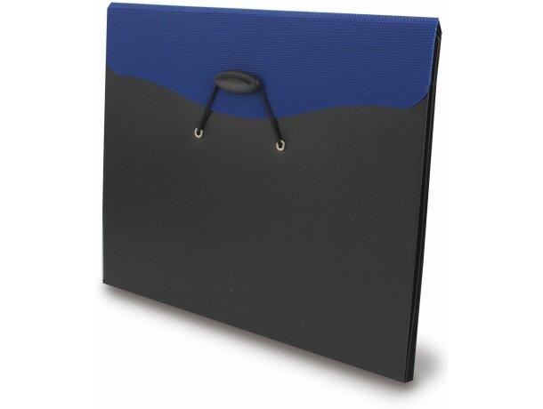 Carpeta con cierre de goma combinada azul