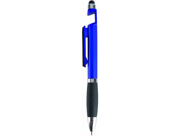 Bolígrafo con varias funciones y soporte móvil azul