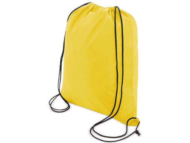 Bolsa mochila con cordones económica amarilla