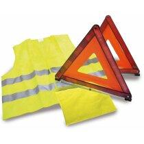 Set emergencia con chaleco reflectante y triángulos personalizado