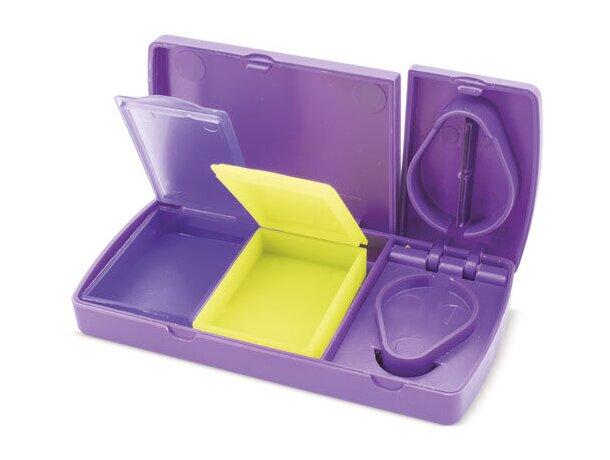 Pastillero cortador con 2 secciones extraibles lila