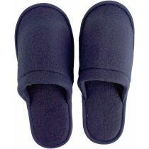 Zapatillas acabado de rizo en algodón azul personalizado