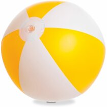 Balón de playa de rayas 37 cm personalizado amarillo
