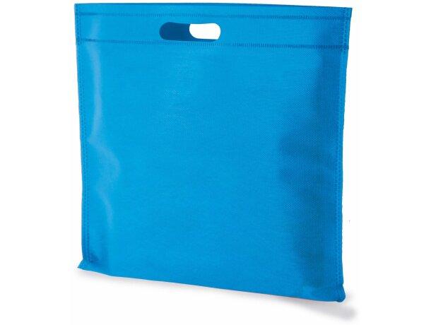 Bolsa cuadrada de non woven grabada azul