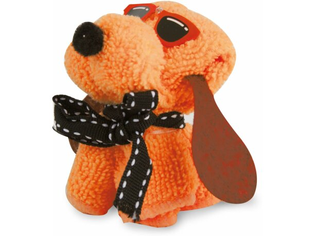 Toalla de regalo con forma de perrito personalizada naranja
