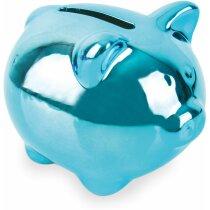 Hucha de cerdito de cerámica acabado metalizado personalizada azul
