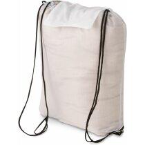 Bolsa mochila de nylon con cuerdas blanca