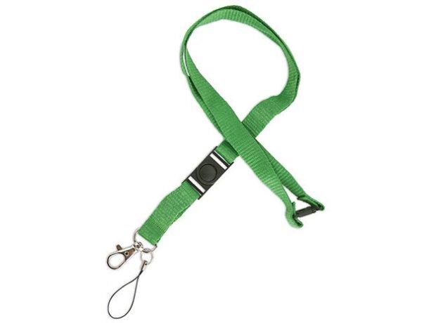 Lanyard doble de poliéster con enganche de hierro verde